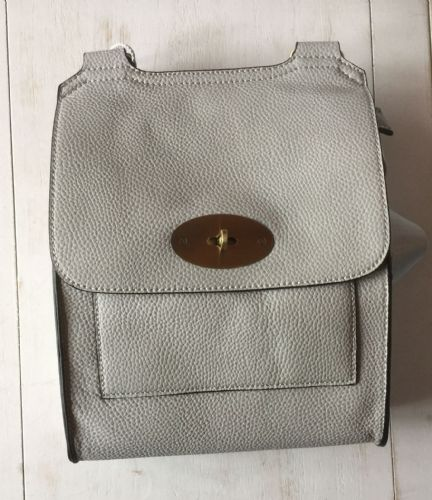 Faux Leather Large Antony Messenger Bag - Pale Grey